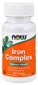 IRON COMPLEX ŻELAZO + WITAMINA C I B12 100 tabletek NOW FOODS
